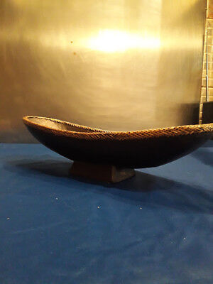 Mid 20th Century Vintage  Ethnographic Wooden Boat Shaped Bowl or Dish
