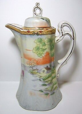 Beautiful Vintage Scenic Hand Painted Porcelain Nippon Chocolate Pot