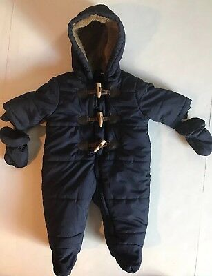 Made With Love By Place Baby Snowsuit With Gloves Navy Blue Size 0-3 Months