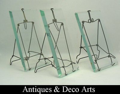 3 Antique Glass and Metal Wire Picture- or Photo Frames