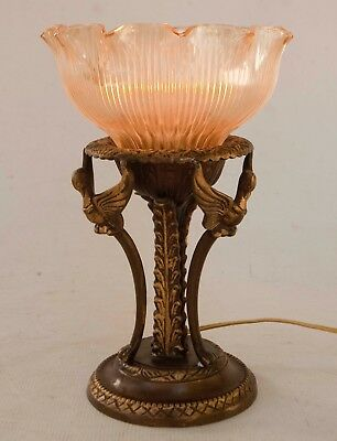 Vintage French Empire Style Caryatid Winged Lady Lamp Brass Ribbed Glass Shade
