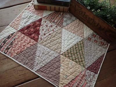 Gorgeous Old Fabrics! Antique Chocolate Brown 1870s Table Doll Quilt 21x16