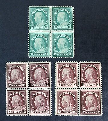 CKStamps: US Stamps Collection Scott#511 512 Block Mint H OG Tiny Thin #512 1NH
