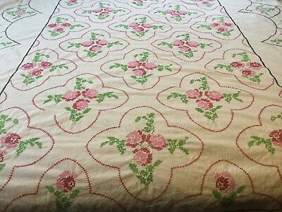 Vtg Hand Sewn Cross Stitch Quilt Top PINK ROSES Lee Wards/by Mary Dexter