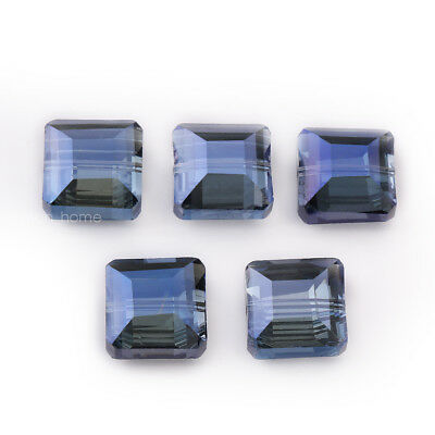 Hot 10pcs 14mm Faceted Square Glass Crystal Loose Beads DIY Jewelry Grayish Blue
