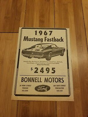 1967 Ford Mustang Fastback Newspaper Ad