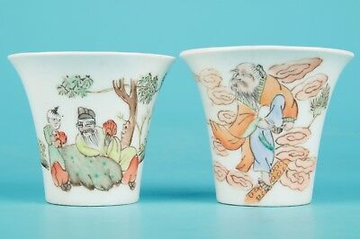 2 Vintage Chinese Porcelain Tea Bowls Hand-Painted Old Poets Collection Gifts
