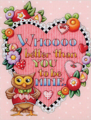Owl WHO BETTER THAN YOU-Handcrafted Valentine's Day Magnet-W/Mary Engelbreit art