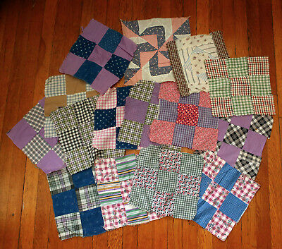 15 pcs Antique Hand Pieced Hand Sewn Large Square Quilt Blocks Feedsack WV