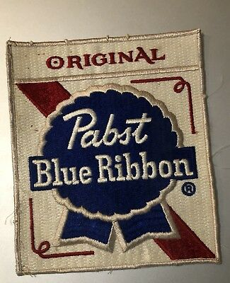 "Vintage Pabst Blue Ribbon ""Original"" Red White Blue Patch Large 5.75"" x 7"""