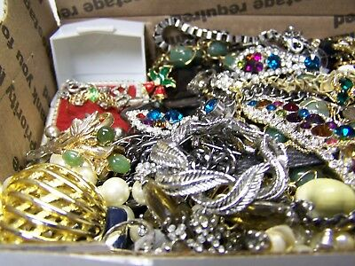 Vintage - Now Jewelry Lot Estate Junk Drawer Brooches, Rings Necklaces, More #61