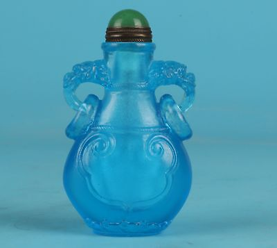 Precious Chinese Pure Blue Coloured Glaze Snuff Bottle Statue Hand-Carved Mascot