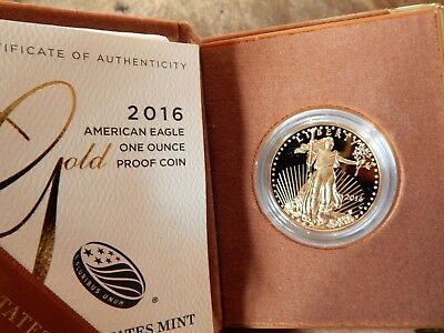 2016 W Proof One Ounce Gold Coin With Original Box And Coa