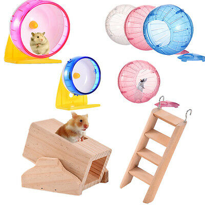Pet Hamster Mice Mouse Gerbil Rat Exercise Toy Running Wheel Ladder Seasaw Toys