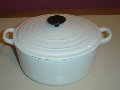 Le Creuset Cast Iron Enamel WHITE 5.5 Qt. Dutch Oven #26
