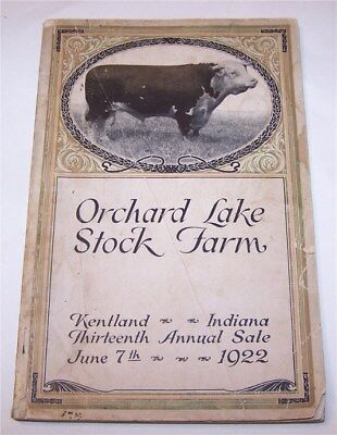 1922 Orchard Lake Stock Farm Auction Catalog -  Hereford Cattle Kenland Indiana