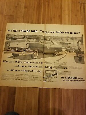 1956 Ford Skyliner Thunderbird Centerfold Newspaper Ad