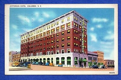 Jefferson Hotel, Columbia, South Carolina 1937 Postcard