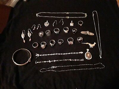 MASSIVE Sterling silver Jewelry lot! ALL WEARABLE STERLING SILVER 5+ OZ must see