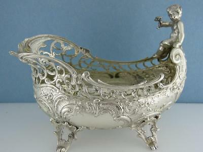 Elaborate 800 Silver pierced Dish w/ figural handle & scroll florals hallmarked