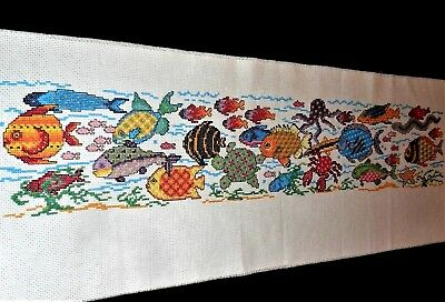 DELIGHTFUL! Tropical FISH Sampler Long Finished Completed Wall Art CROSS STITCH