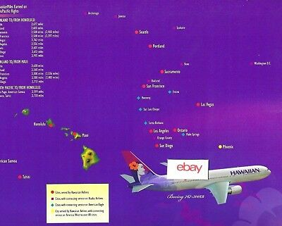 Hawaiian Airlines Boeing 717-200 & 767-300Er Route Map 2 Pg Transpacific-Islands