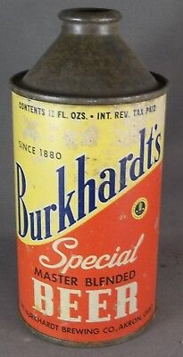 Burkhardt's Special Beer cone top beer can, Ohio