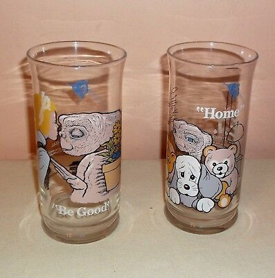 """2 Vtg Collectible Pizza Hut E.t. Extra-Terrestrial Glasses 1982 """"home"""" """"be Good"""""""