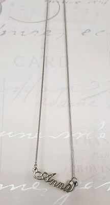"""Personalised Gift Steel Necklace gem set 18"""" Nameplate Any Name goldsilver"""