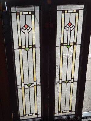 """Pair of Antique Stained & Clear Leaded Glass Doors / Windows 48"""" x 13"""""""