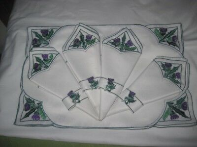 New Vintage 2 Sets of 4 White Linen Placemats and Napkins, purple floral