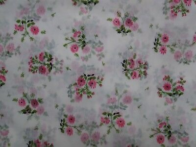 Vintage Pink Green Floral Flower Cottage Garden Sheer Nylon Organdy Fabric