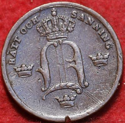 1852 Sweden 1/3 Skilling Foreign Coin
