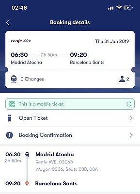 2 renfe ave tickets from Madrid to Barcelona
