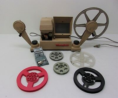 Vintage Mansfield 650 8mm Movie Film Editor / Viewer reels and Extra Lamp