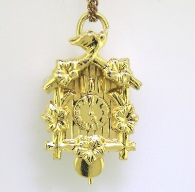 "Yellow Gold ""MOVEABLE CUCKOO CLOCK CHARM"" Guaranteed Genuine 14k Gold"