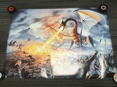 PAINTING FANTASY DRAGON SLAYER BATTLE COOL ART PRINT POSTER MP5371A
