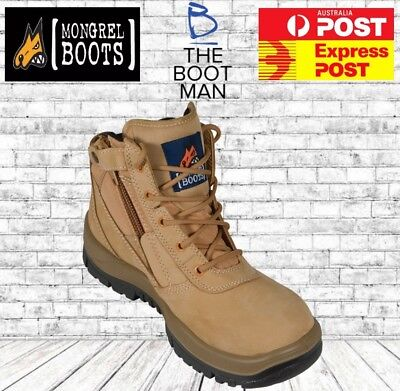 Mongrel 261050 Work Boots Steel Toe Safety Wheat Zip Sider FREE EXPRESS POST
