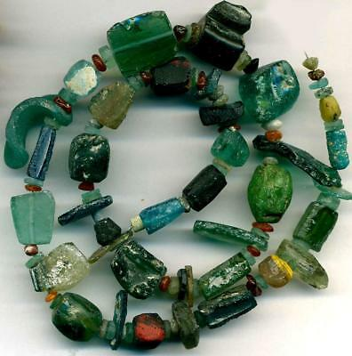 Roman Ancient Glass Beads Curved Shapes ~Centuries Old~Authentic Encrusted 18""