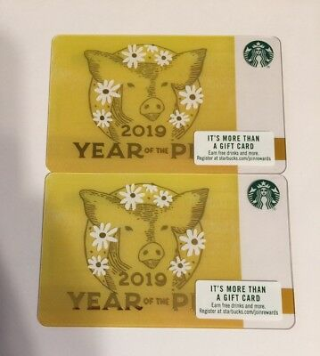 Set Of 2 Starbucks 2019 Year Of The Pig Chinese New Year Gift Cards NEW $0 Value