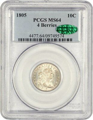 1805 10c PCGS/CAC MS64 (4 Berries) Very Scarce - Bust Dime - Very Scarce