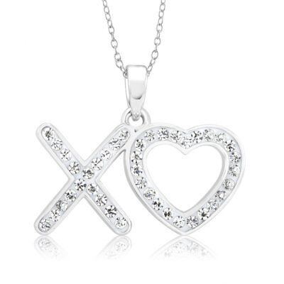 Rhodium-plated Crystal XO Heart Necklace