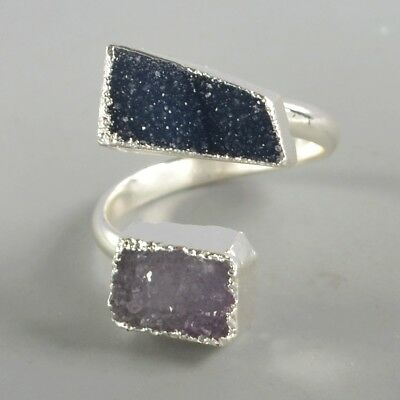 Size 8 Blue Agate Druzy Geode Adjustable Ring Silver Plated T073274