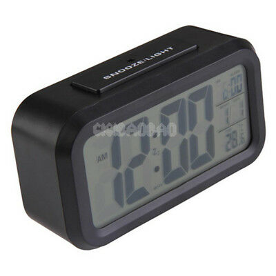 Digital Snooze Electronic LED Alarm Clock Backlight Time Calendar Thermometer G
