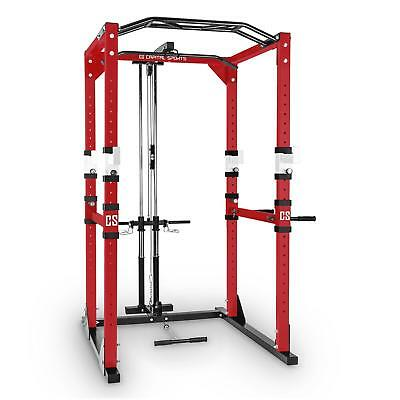 Multi Fitness Workout Power Rack Cage Latzug Tower Muskel Training Stahl Rot