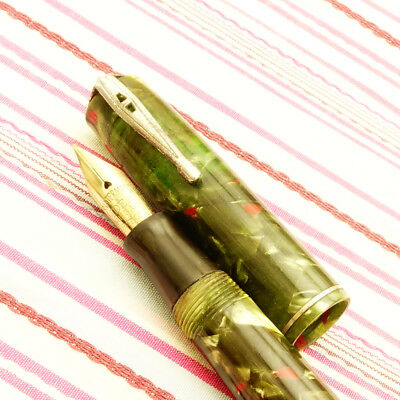Vintage WATERMAN'S IDEAL 3V Green Jade Marble Red Specks Lever-fil Fountain Pen