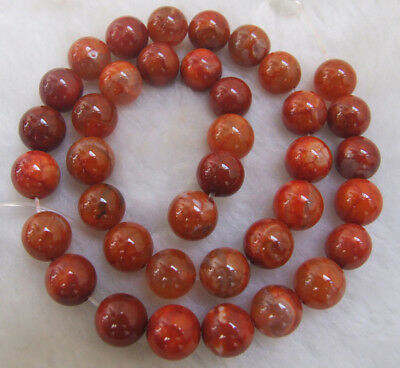"""Orange Ice Fire Agate Round Loose Beads 4mm 6mm 8mm 10mm 15"""""""