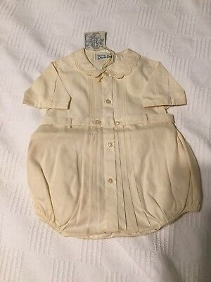 Feltman Bros Vintage Embroidered Baby Boy Bubble Romper Newborn new with tags