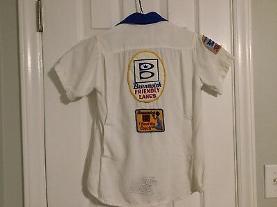 Vintage King Louie Bowling Shirt Youth 10 Patches Brunswick Friendly Lanes