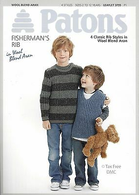 06afc0dcd3af VAT Free Knitting PATTERN ONLY Patons Easy Knits Rib Jumpers 3755 - 4  Styles New